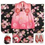 七五三 着物 3歳 女の子 被布セット  リョウコキクチ 黒地 刺繍使い 被布濃淡ピンクぼかし 雛祭り お正月 足袋に腰紐付きの13点フルセット