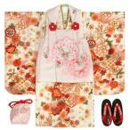 七五三 着物 3歳 女の子 被布セット マユミ 白地(オフホワイト) 被布淡いピンク 刺繍桜 芍薬 足袋付き12点フルセット 753