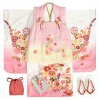 七五三 着物 3歳 女の子 被布セット リョウコキクチ 淡いピンク 桜 被布白刺繍使い 雛祭り 753 足袋に腰紐付きの12点フルセット