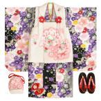 七五三着物3歳 女の子 被布セット マユミ 黒地 被布淡いピンク 刺繍桜 芍薬 足袋付き12点フルセット