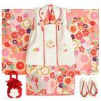七五三着物 3歳 女の子被布セット 京都花ひめブランド 華風車 ピンク ベージュ 被布白色 華珠刺繍 足袋付セット 日本製