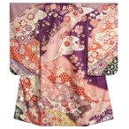 七五三着物7歳 女の子四つ身着物 式部浪漫 紫色地 華尽くし 金糸刺繍 捻り梅柄 日本製