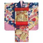 七五三 着物 7歳着物フルセット フロム京都ブランド From KYOTO 青色地ピンク染め分け着物 友禅文様 金襴地友禅帯セット 足袋に腰紐など20点フルセット