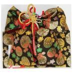 七五三着物用祝い帯 7歳用 黒 まり 桜 飾り紐付き 大サイズ 日本製