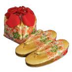 七五三 草履きんちゃくセット 3歳から5歳用 金襴地 四季桜文様 日本製