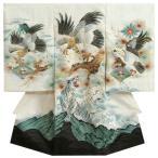 お宮参り 着物 男 正絹初着 男の子用産着 白 鷹 虎 刺繍使い 菱地紋生地