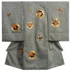 お宮参り 着物 男 正絹初着 黒色 総手本絞り 柄総刺繍使い 三つ扇 五三桐 紋柄 金コマ刺繍 日本製