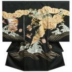 お宮参り 着物 男 正絹男児初着 黒 荒波昇龍柄 刺繍使い 金彩 サヤ地紋生地 日本製