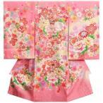 お宮参り 着物 女の子 正絹初着 ピンク 鈴 刺繍芍薬 金コマ刺繍使い 桜地紋生地