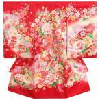 ショッピング着物 お宮参り 着物 女の子 正絹初着 赤 桜 鈴 刺繍牡丹 金刺繍使い サヤ華地紋生地