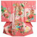 お宮参り 着物 正絹女児初着 女の子用産着 ピンク 花車 金糸刺繍 赤ちゃん着物 精華生地