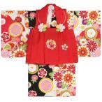 ベビー着物 赤ちゃん用女の子着物 白黒濃ピンク三色ボカシ着物 赤色被布 二部式仕様の楽々着せ付けタイプ