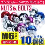 ナンバー プレート ボルト エンジンルーム ワッシャー カラーボルト 10個セット 5色選択 M6 バイク パーツ フロントカウル USDM