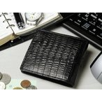 二つ折り財布 クロコダイル 黒
