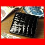 財布 クロコダイル メンズ レディース ブラック 二つ折り財布 ウォレット ワニ革 鰐皮 わに革 本革 レザー ユニセックス 男女兼用 黒 シャイニング エナメル加工