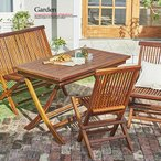 ガーデンテーブルセット おしゃれ テーブルセット 木製 ウッドデッキ ベランダ 折りたたみ ベンチセット テラス 天然木 チェアセット 4点 チーク 木製ベンチ