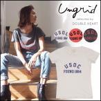 ungrid アングリッド 3月下旬予約 USDプリントTee レディース トップス Tシャツ 半袖 ロゴ シンプル 古着 加工 111722707601