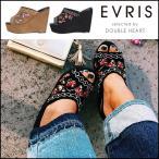 ショッピングサボ EVRIS エヴリス EMBROIDERYスタッズサボサンダル レディース シューズ 靴 サンダル サボ 厚底 スエード スタッズ 刺繍 フラワー 花柄