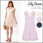 リリーブラウン Lily Brown フラワーオーガンジーワンピース ワンピース レディース ノースリーブ レース ドレス フレア 結婚式 パーティー