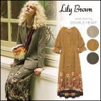 Lily Brown リリーブラウン グレンチェックフラワーワンピース レディース ワンピース ミディアム 丈 ミディ ミディワンピ 花柄 フリル LWFO174081