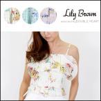 リリーブラウン Lily Brown フラワーチェックオフショルトップス レディース オフショルダー トップス ブラウス 花柄 チェック ショート丈