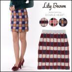 リリーブラウン Lily Brown カラーブロック台形スカート レディース ボトムス スカート ニット タイト ブロック チェック ブロックチェック