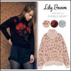 リリーブラウン Lily Brown 起毛ジャガードプルオーバー レディース トップス ニット プルオーバー モヘア ふわふわ 起毛 フラワー 花柄