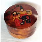 重箱 おせち 木製 本漆塗 おひな様絵 6寸 二段重 18cm すり漆 国産 香川漆器 弁当箱 漆器 ひな祭り 節句 桃の節句