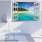 ウォールステッカー 窓 風景 シール 浜辺 海 ビーチ お風呂 インテリアシール 子供部屋 床 3d 景色 だまし絵 壁