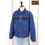 メンズジャケット古着70sキーKEY裏ボア付きデニムジャケット(ランチコート)青USA製(50off)(Sale)