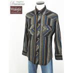 古着 シャツ Wrangler ラングラー コットン マルチストライプ柄 ウェスタンシャツ M