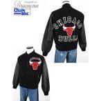 古着 ジャケット USA製 CHALK LINE NBA CHICAGO BULLS ウール スタジャン ジャケット オールブラック S 古着