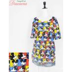 レディースTシャツ古着 Disney ディズニー カラフル ミッキーマウス 総柄 FOREVER21 キャラ プリント ビッグシルエット 半袖 Tシャツ XL