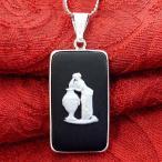 <英国スターリングシルバー>ウエッジウッド:貴重なブラックジャスパーの優雅な女神さまの長方形のネックレス