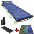 キャンピングコット&キャンピングエアマット2点セット  アウトドアコット 収納袋付 キャンピングベッド 枕付き一人用防水・耐水 自動膨張式 キャンプ用寝具