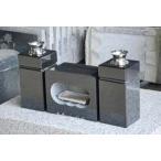 墓石用角型香炉と角型花立黒御影石のセット 【送料無料】