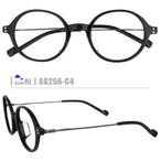 松ネコメガネ【AG256-C4】(コンビフレーム+薄型レンズ+メガネ拭き+ケース付き)※素材の特性上、顔幅の調整は出来ません。