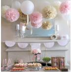 ペーパーポンポン ハニカムボール ペーパーフラワー バースデー パーティー 装飾 ウェディング  結婚式  小物  ベージュ/ピンク/オフホワイト 6個セット