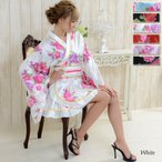 着物ドレス ミニ 浴衣 ゆかた キャバクラドレス 花魁 衣装 ダンス衣装 よさこい ゴールドパイピングフリル和風花柄着物ミニドレス