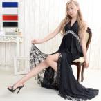 ショッピングドレス ドレス キャバ ロングドレス パーティドレス キャバクラドレス【送料無料】背中リボンロング2ピースドレス(上下セット)