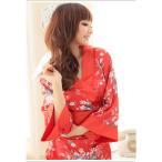 着物 ドレス サテン 浴衣 ミニ キャバ ゆかた 花魁 コスチューム 花魁和風柄着物ミニドレス 2ピース 上下セット