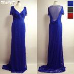 ロング ドレス シャンソン ジャズ ステージ衣装 大きめサイズ 総レース トレーンロングドレス 青 U0189BL