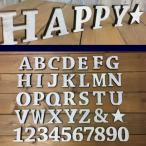 【クリックポスト・メール便対応】国産ヒノキ使用 木製 アルファベット&ナンバー 星 ホワイト スタンドタイプ レーザー加工