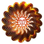 【インテリアにもガーデニングにも】 マジカルスピナー ハワイアンサン 太陽 直径22cm 黄色/赤 ステンレス製 ウインドスピナー