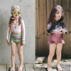 キッズ水着女の子セパレート女児用トップスショットパンツキャップ日焼け防止か...
