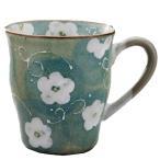 マグカップ コップ カップ 花柄 食器 和食器 / 風水花マグ(緑) /モダン食器 シンプル お祝い 贈り物 ギフト
