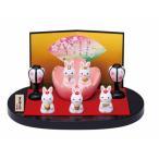 雛人形 コンパクト 陶器 小さい 可愛い ひな人形/ 錦彩うさぎ桜雛(平飾り) /ミニチュア 初節句 お雛様 おひな様 雛飾り