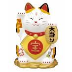 招き猫 錦彩大当り招き猫(中・みけ)(宝くじ入れ・貯金箱)