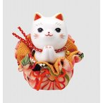 可愛い猫 置物 彩絵ふく福巾着おねがい猫(大)