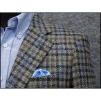 秋冬物ジャケット イタリー生地 Lanificio di Pray使用 ベーシック2釦 グレージュ系格子 メンズジャケット